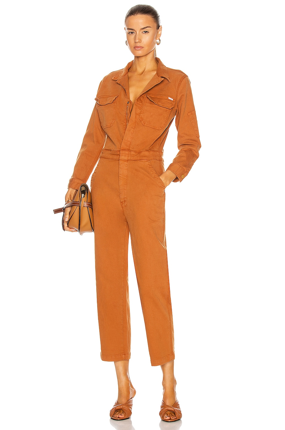 Image 1 of MOTHER The Fixer Jumpsuit in Leather Brown