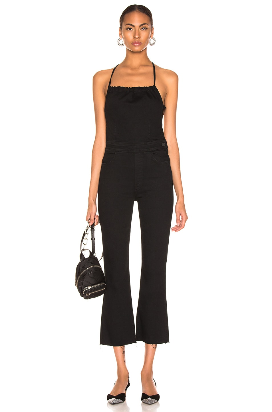 Image 1 of MOTHER Tie Back Hustler Ankle Fray Jumpsuit in Not Guilty