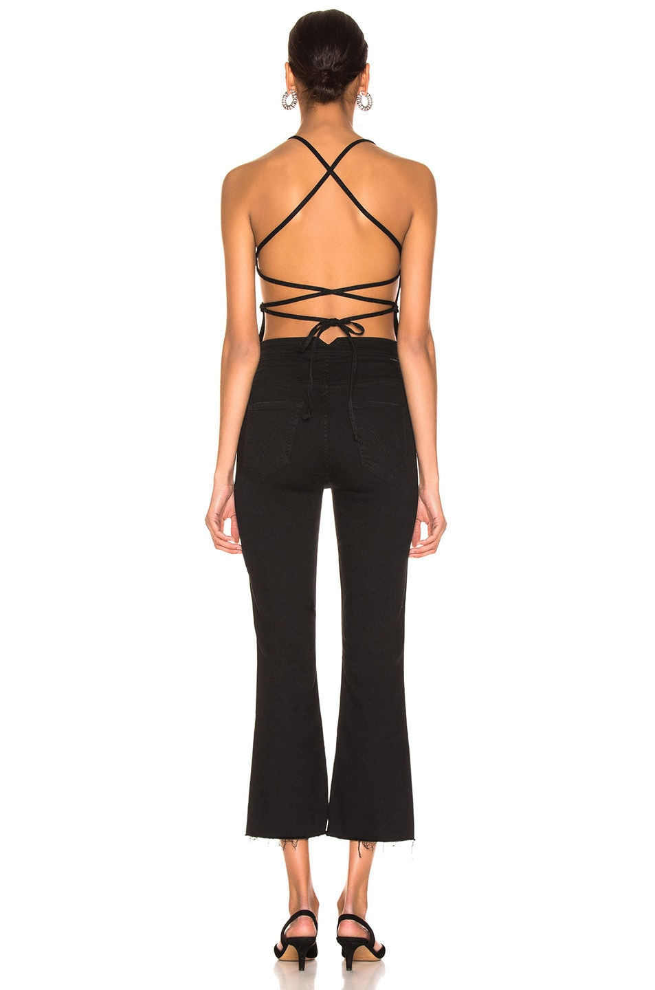 Image 3 of MOTHER Tie Back Hustler Ankle Fray Jumpsuit in Not Guilty