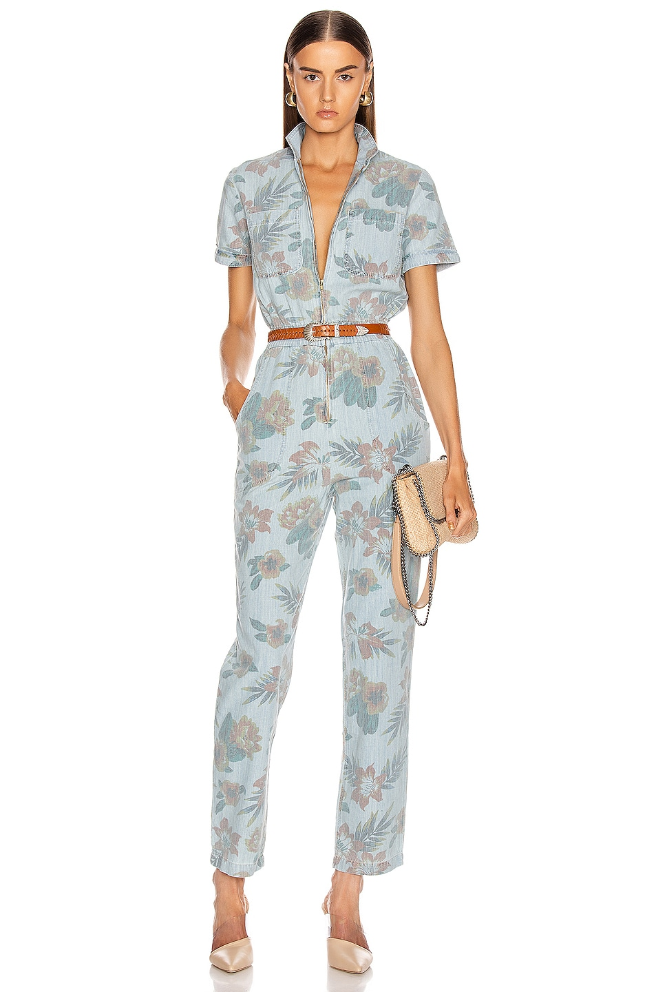 Image 1 of MOTHER The Zip Up Short Sleeve Jumpsuit in Fresh Cut