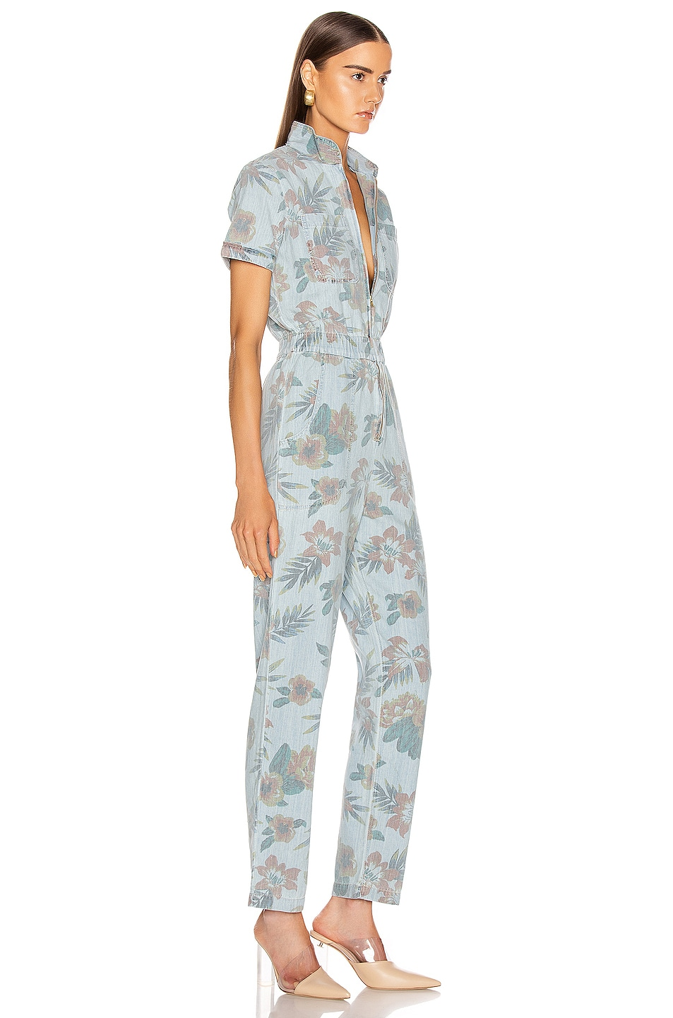 Image 2 of MOTHER The Zip Up Short Sleeve Jumpsuit in Fresh Cut