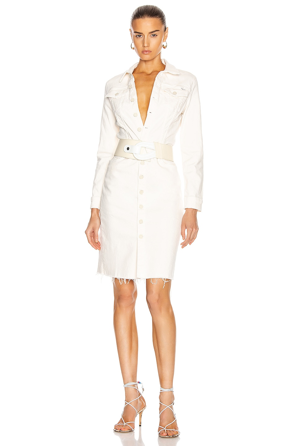Image 1 of MOTHER Cover Up Knee Fray Dress in Cream Puffs