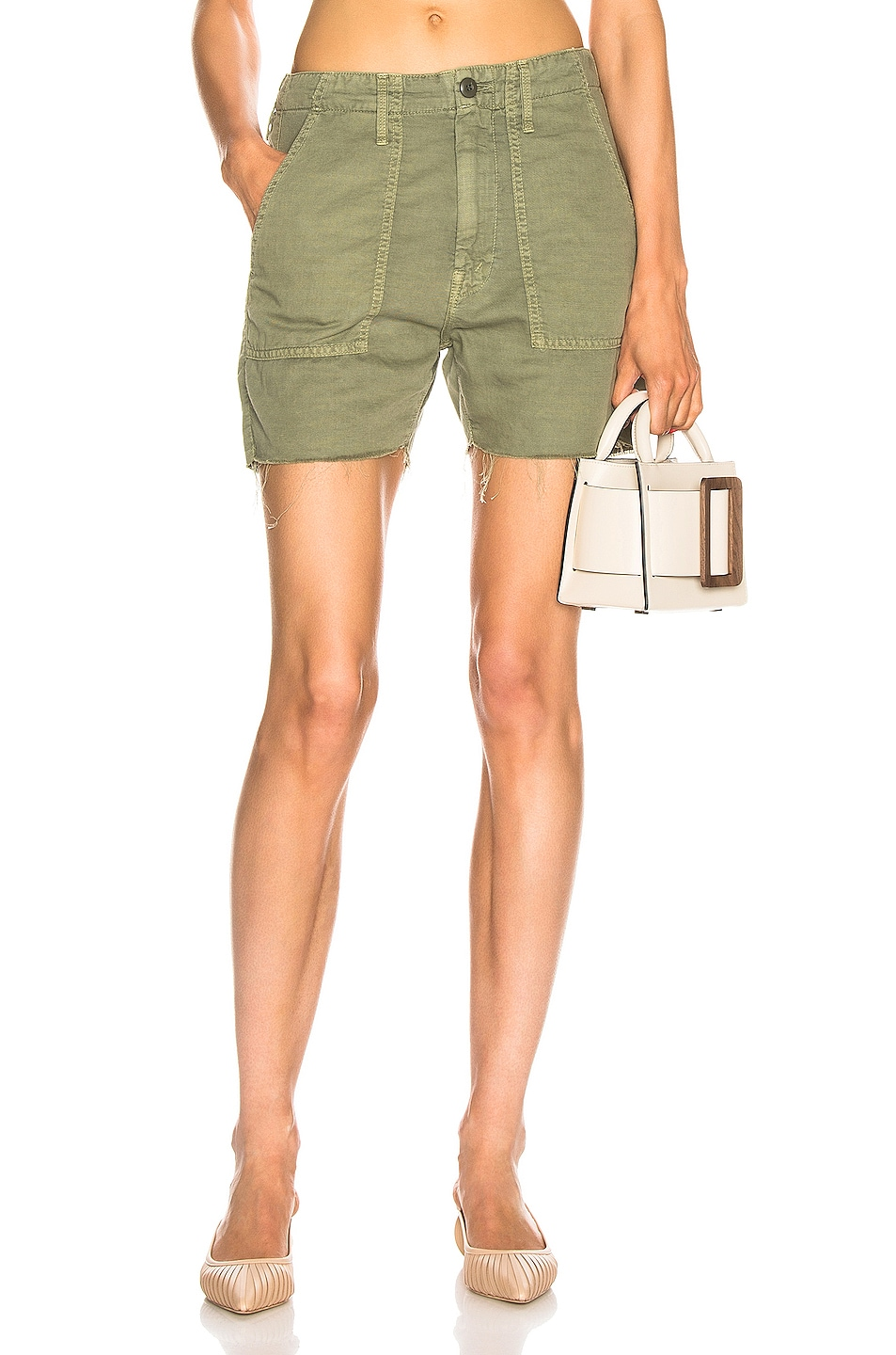 Image 1 of MOTHER Shaker Chop Short in Army Green