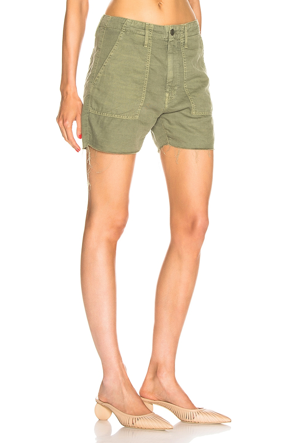 Image 2 of MOTHER Shaker Chop Short in Army Green