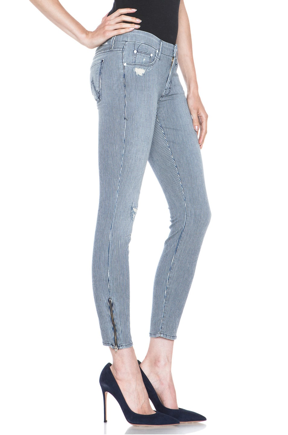 Image 3 of MOTHER Skinny Crop Jean Destroyed in On The Road