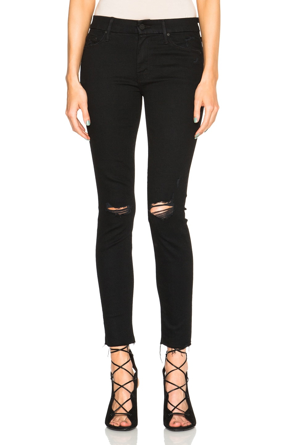 'The Looker' Frayed Ankle Skinny Jeans (Guilty As Sin) in Black