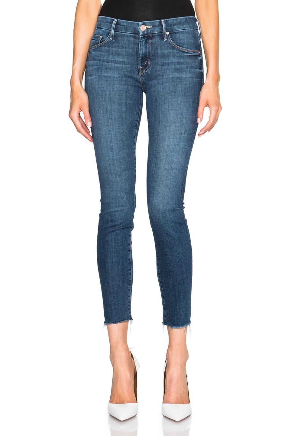 The Stunner High Rise Ankle Fray Jeans (Moon Dark), Blue