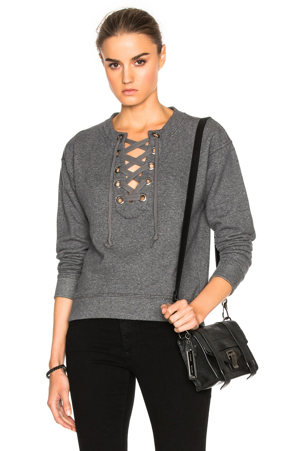 Image 1 of MOTHER Tie Up Easy Sweatshirt in Charcoal