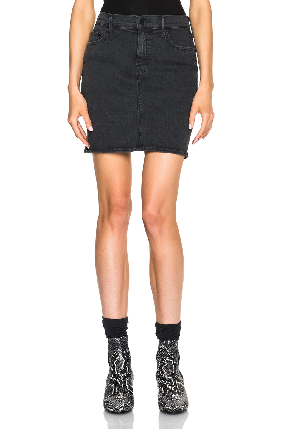 Image 1 of MOTHER High Waist Mini Skirt in Faded Black