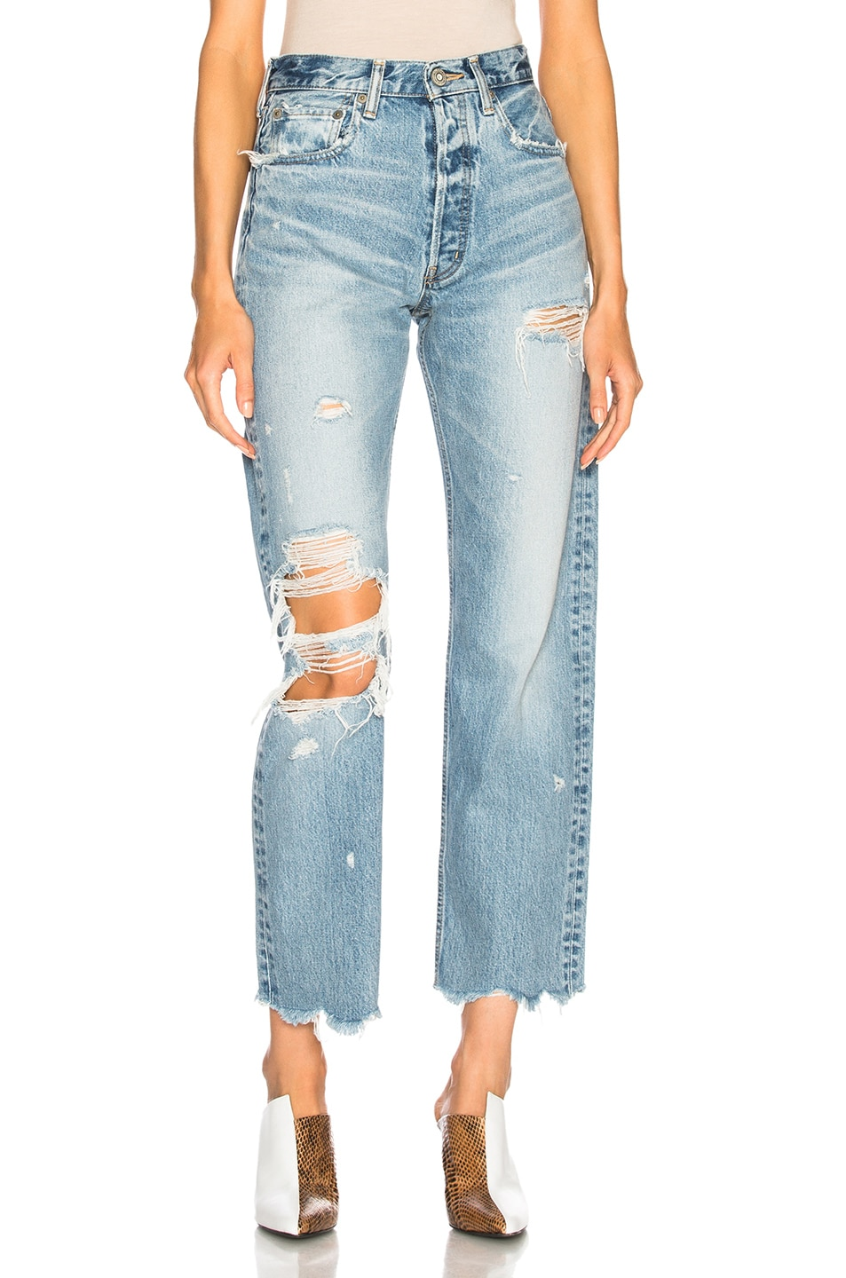 Image 1 of Moussy Vintage Loa Wide Straight in Light Blue