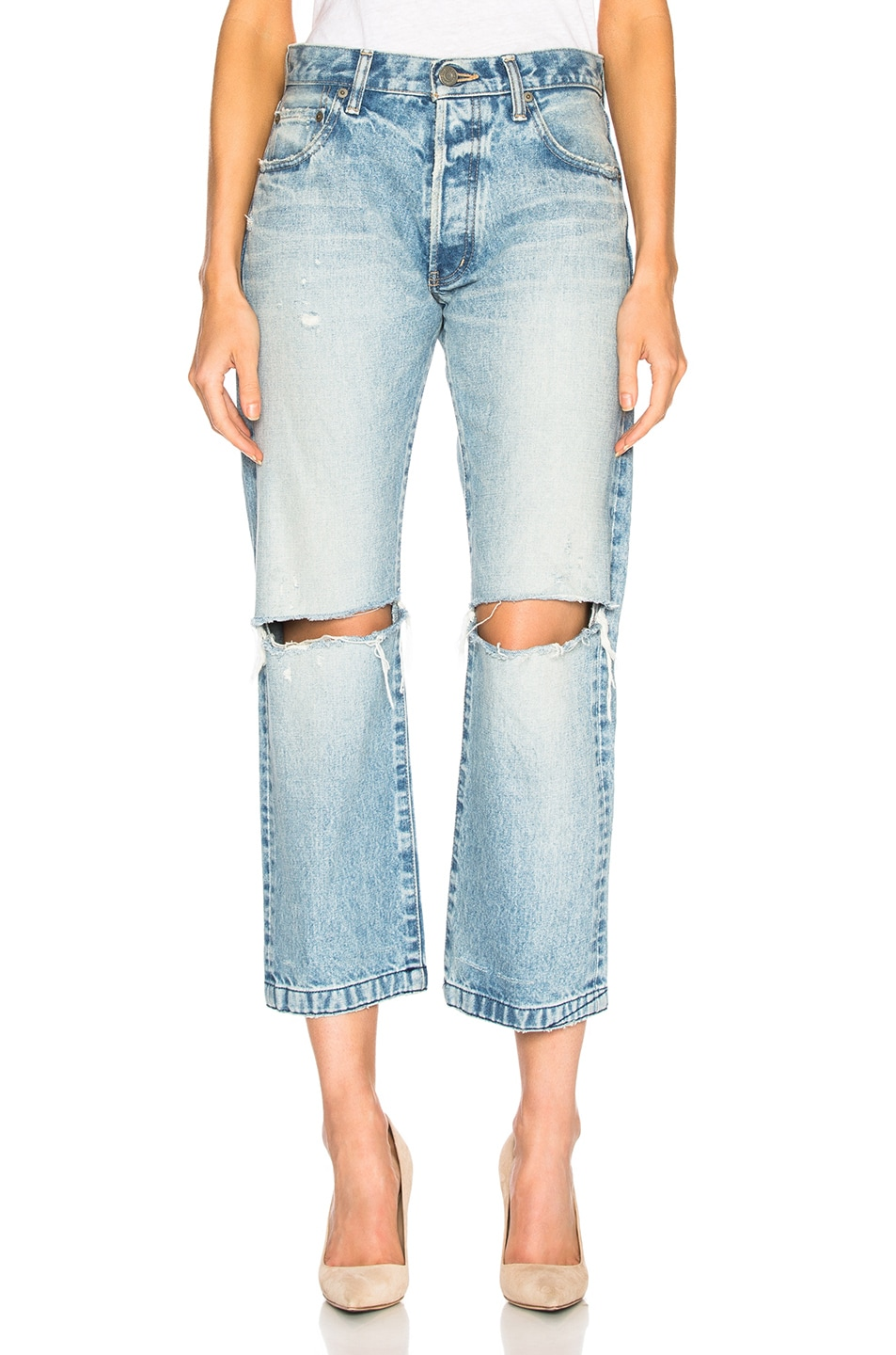 MOUSSY Moussy Vintage Distressed Straight Jeans - Blue