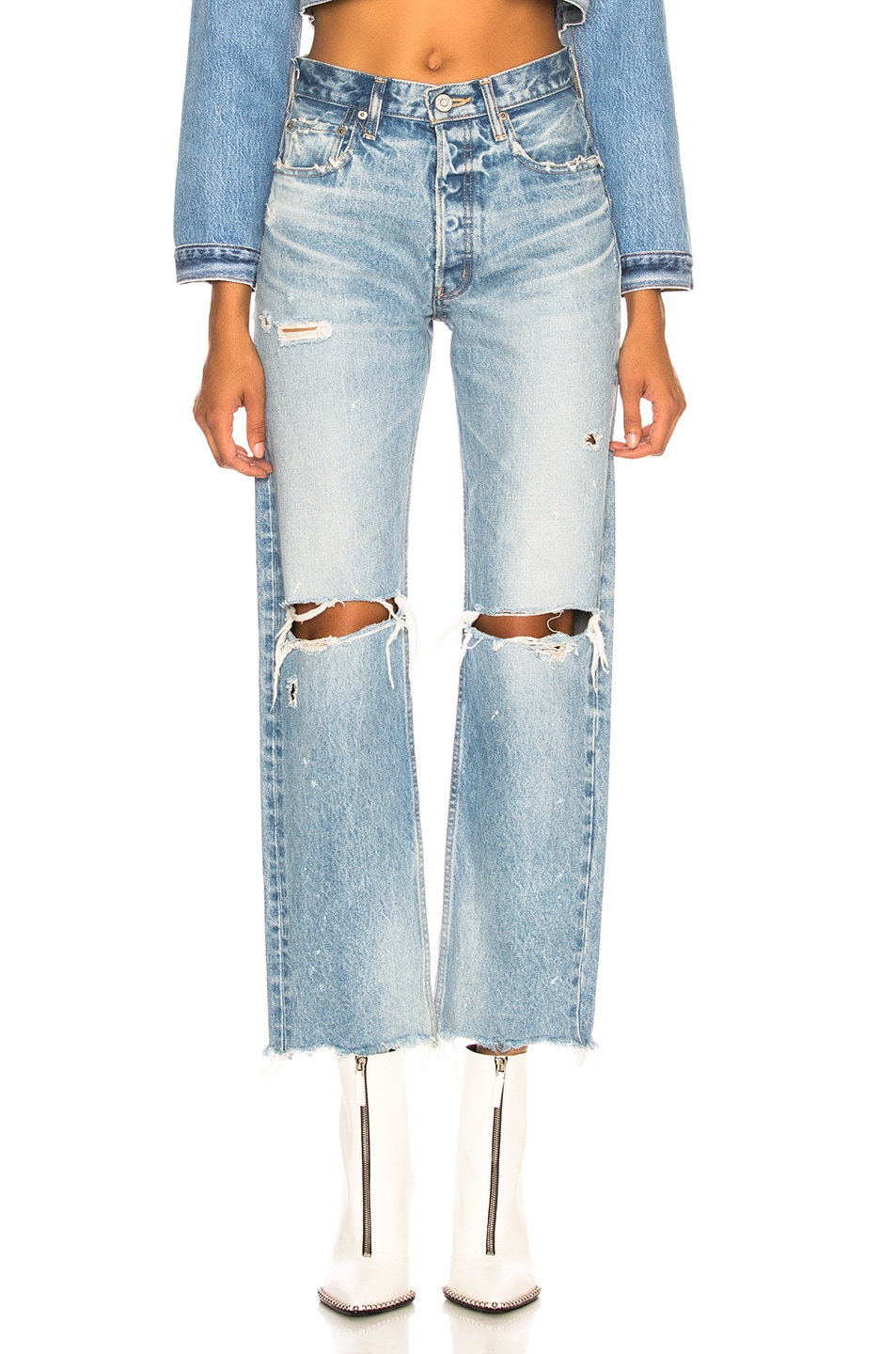 Image 1 of Moussy Vintage MV Odessa Wide Straight in Blue