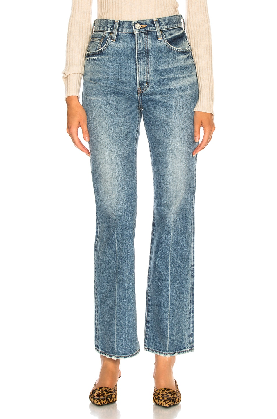 Image 1 of Moussy Vintage Luna Straight Flare in Blue