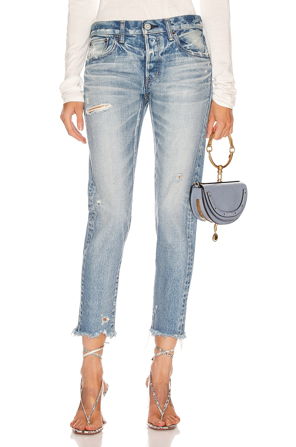Image 1 of Moussy Vintage Kelley Tapered Straight Leg in Light Blue