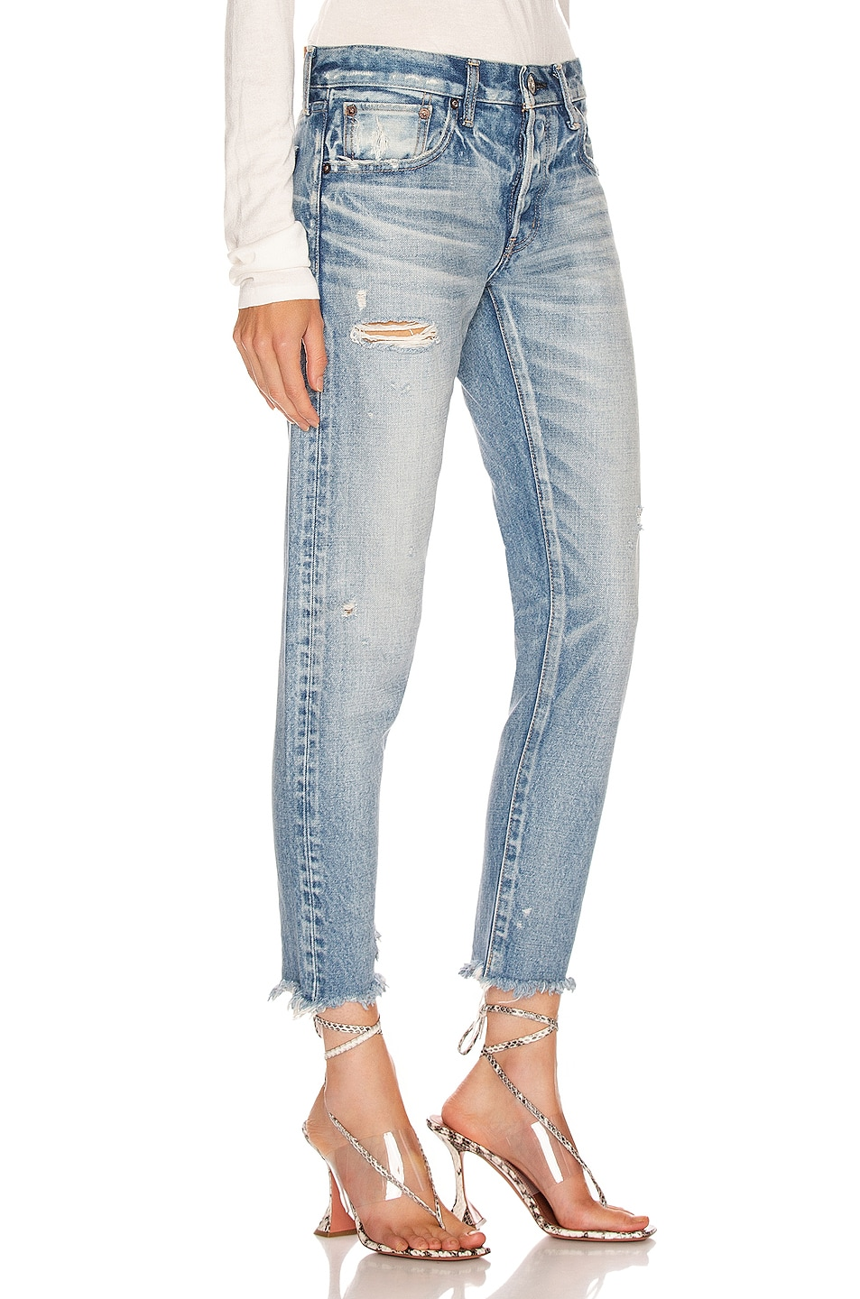 Image 2 of Moussy Vintage Kelley Tapered Straight Leg in Light Blue