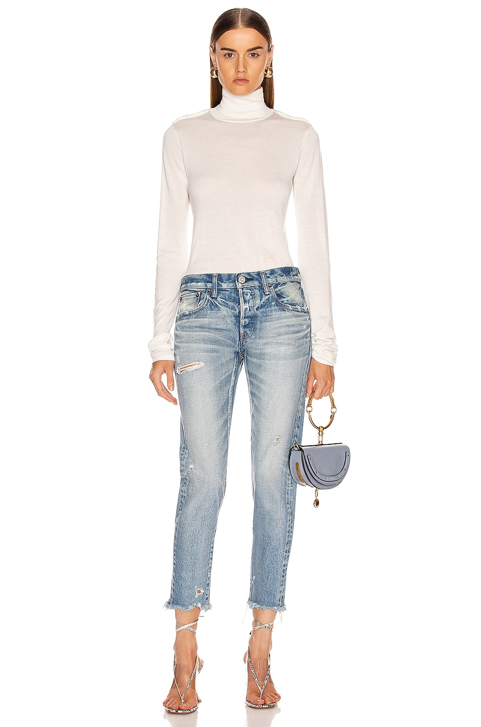 Image 4 of Moussy Vintage Kelley Tapered Straight Leg in Light Blue