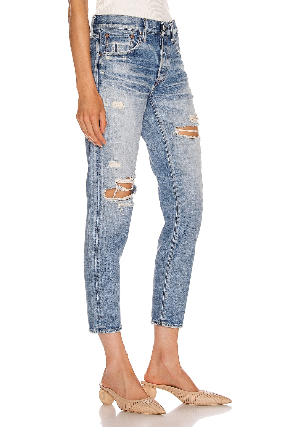 Image 2 of Moussy Vintage Bowie Tapered Straight Leg in Blue