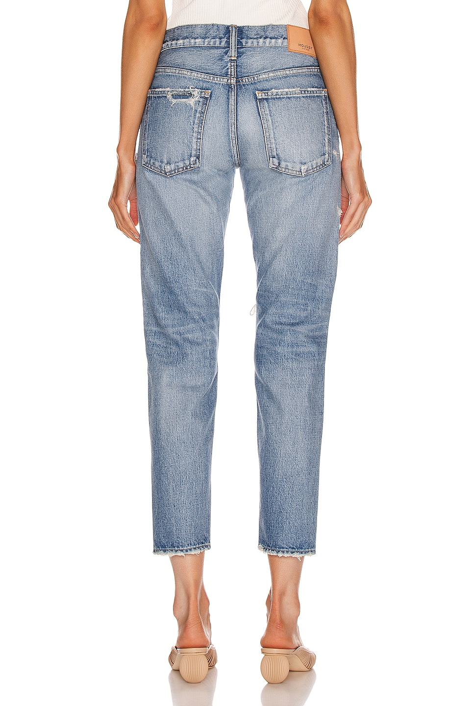 Image 3 of Moussy Vintage Bowie Tapered Straight Leg in Blue