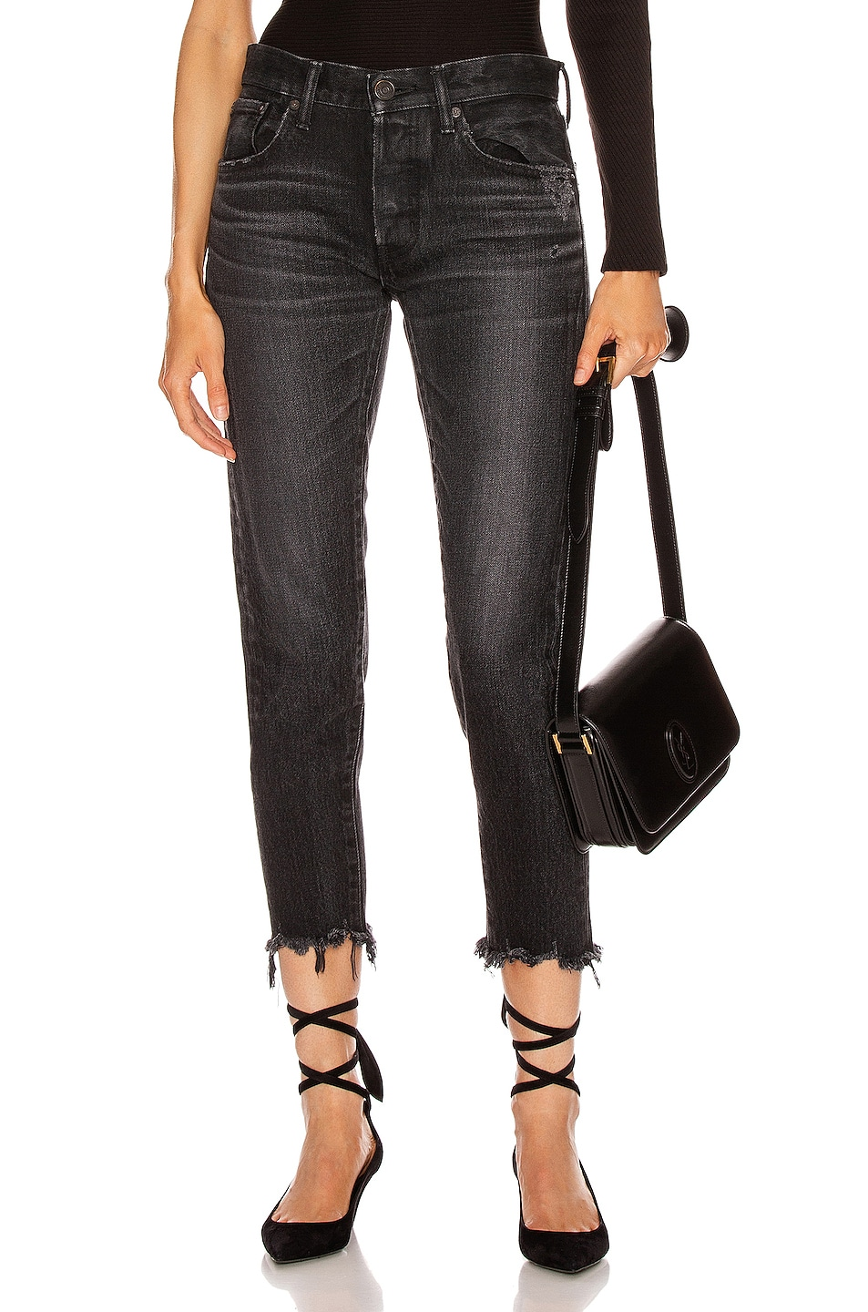 Image 1 of Moussy Vintage Staley Tapered Straight Leg in Black