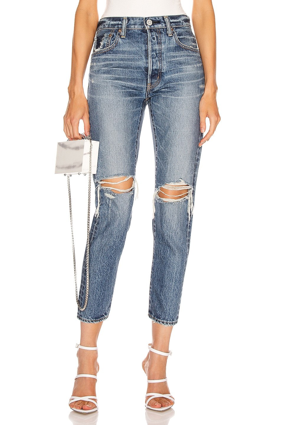Image 1 of Moussy Vintage Beckton Tapered Straight Leg in Dark Blue