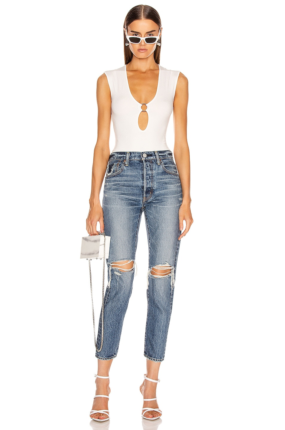 Image 4 of Moussy Vintage Beckton Tapered Straight Leg in Dark Blue