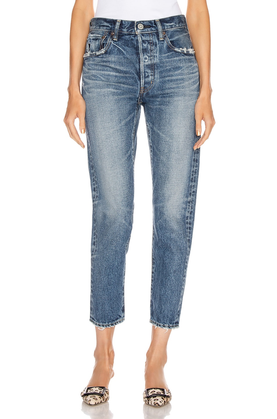 Image 1 of Moussy Vintage Moskee Tapered Straight Leg in Blue
