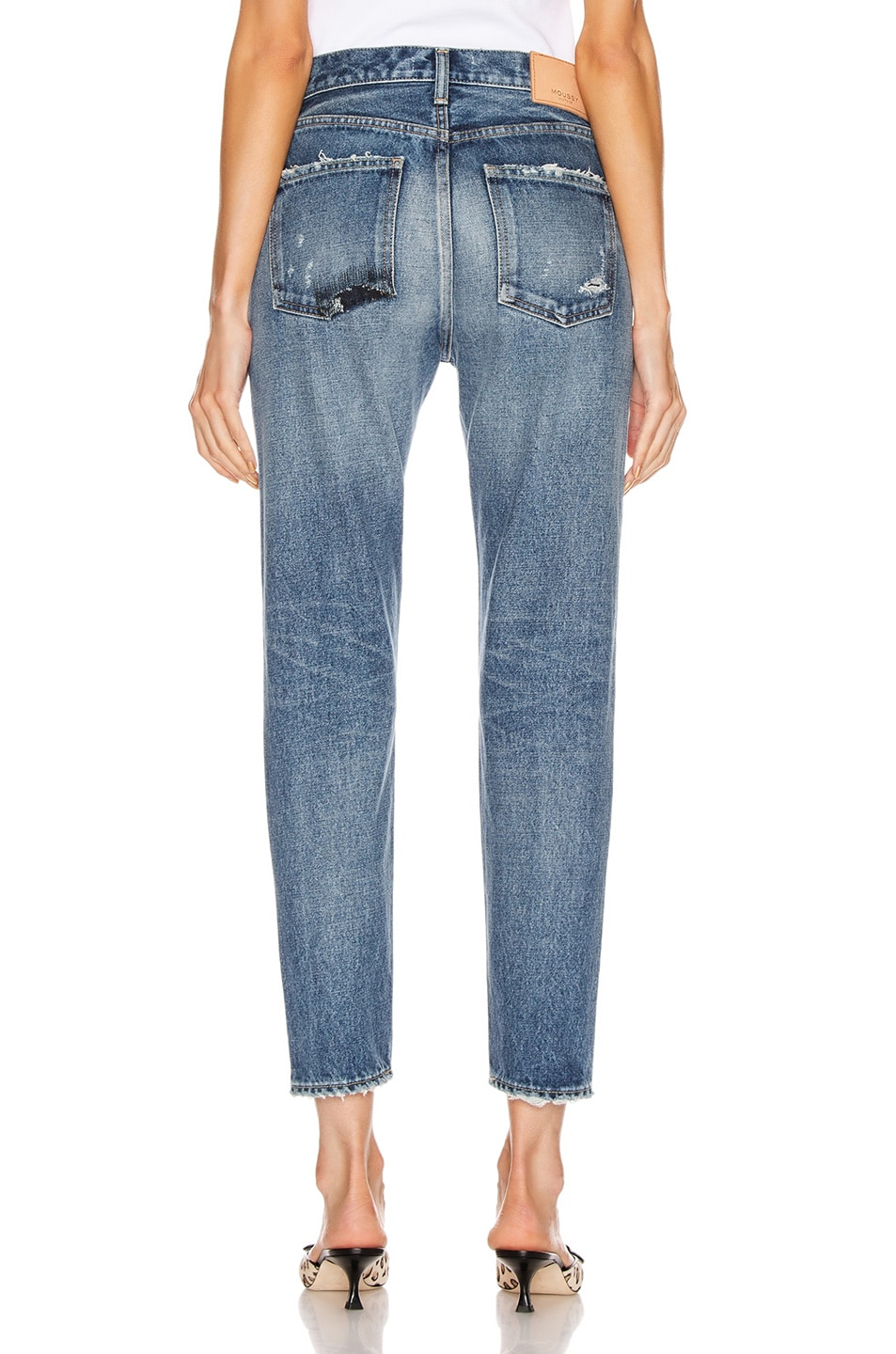 Image 3 of Moussy Vintage Moskee Tapered Straight Leg in Blue