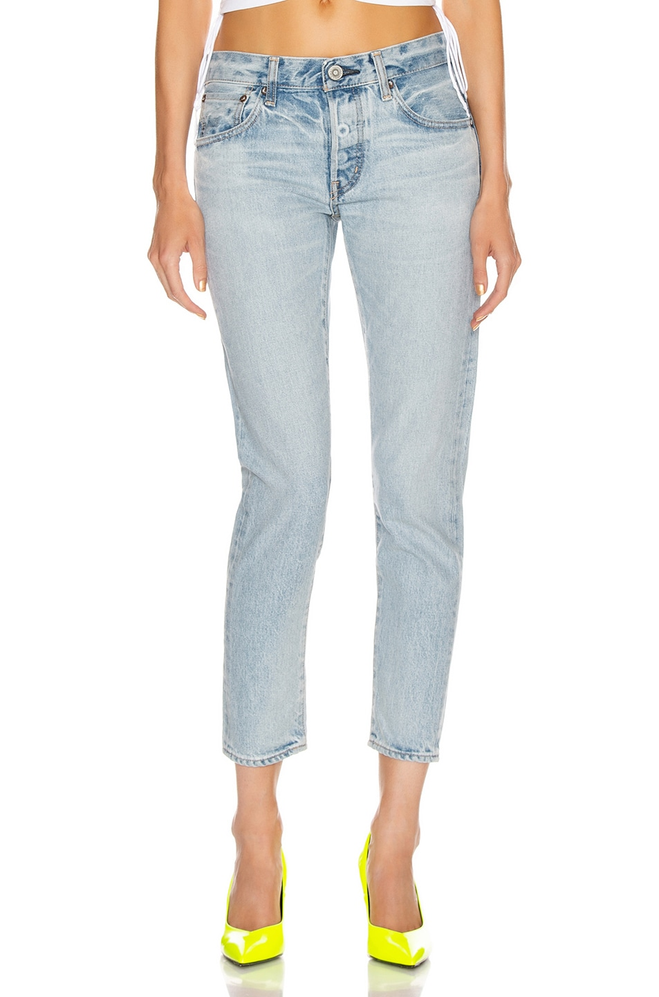 Image 1 of Moussy Vintage Camilla Tapered Straight Leg in Light Blue
