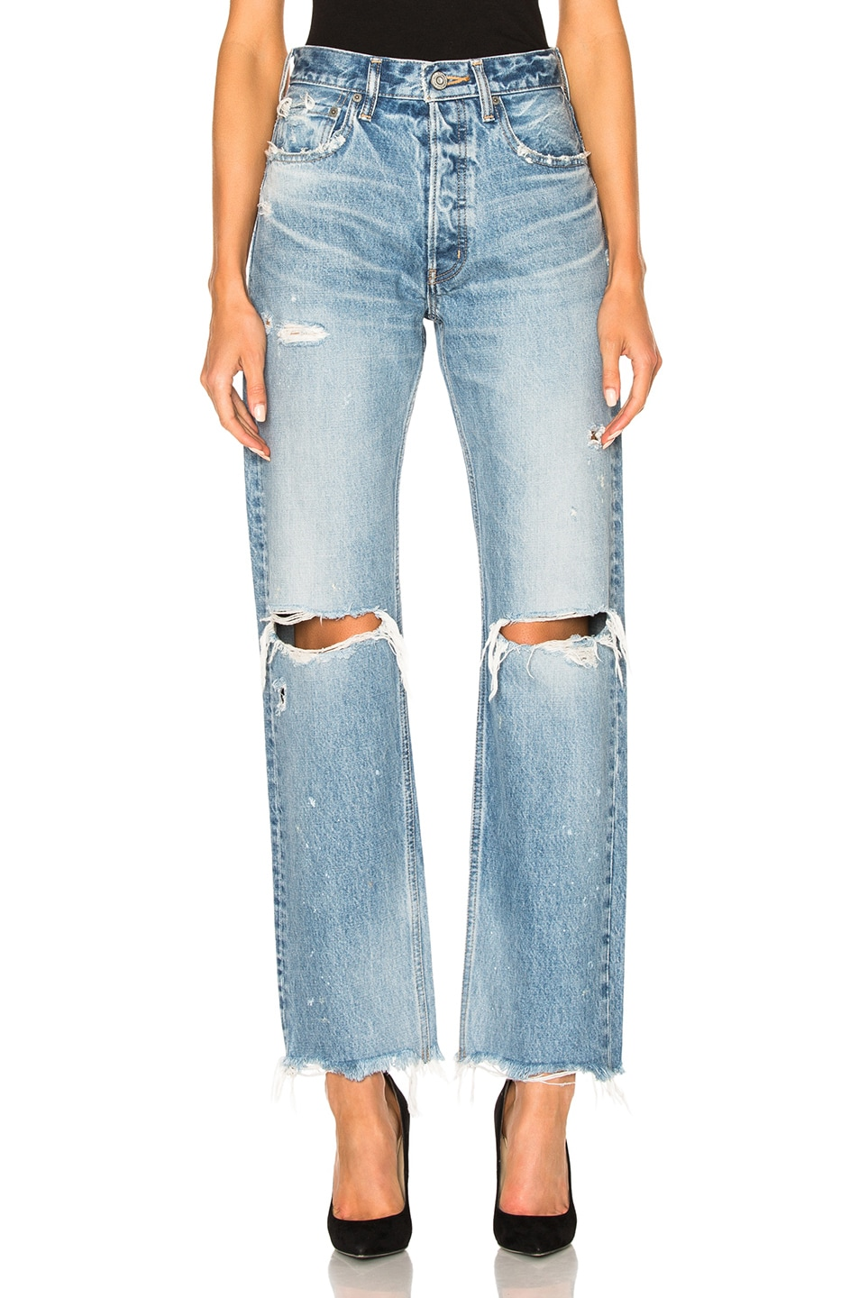 Image 1 of Moussy Vintage Odessa Wide Straight in Blue
