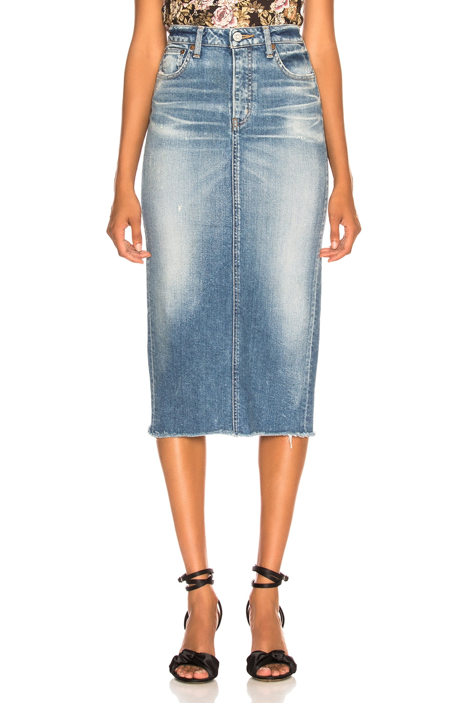 Image 1 of Moussy Vintage Comfort Norman Long Skirt in Blue