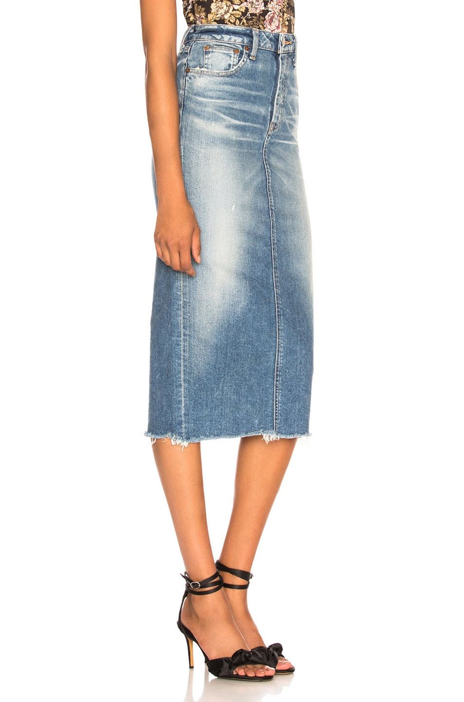 Image 2 of Moussy Vintage Comfort Norman Long Skirt in Blue