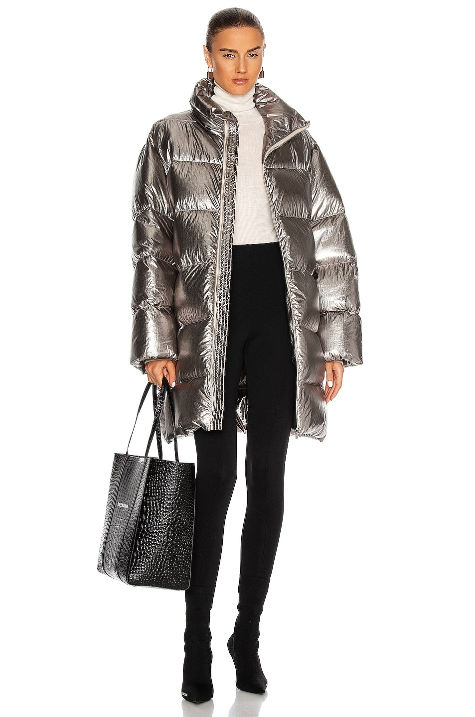 Image 1 of Moncler + Rick Owens Cyclopic Coat in Silver