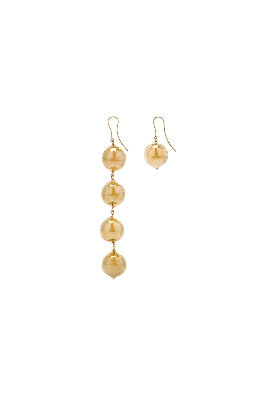 Image 2 of Marques ' Almeida Asymmetric Drop Ball Earrings in Gold