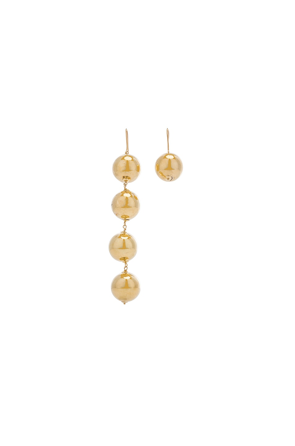 Image 3 of Marques ' Almeida Asymmetric Drop Ball Earrings in Gold