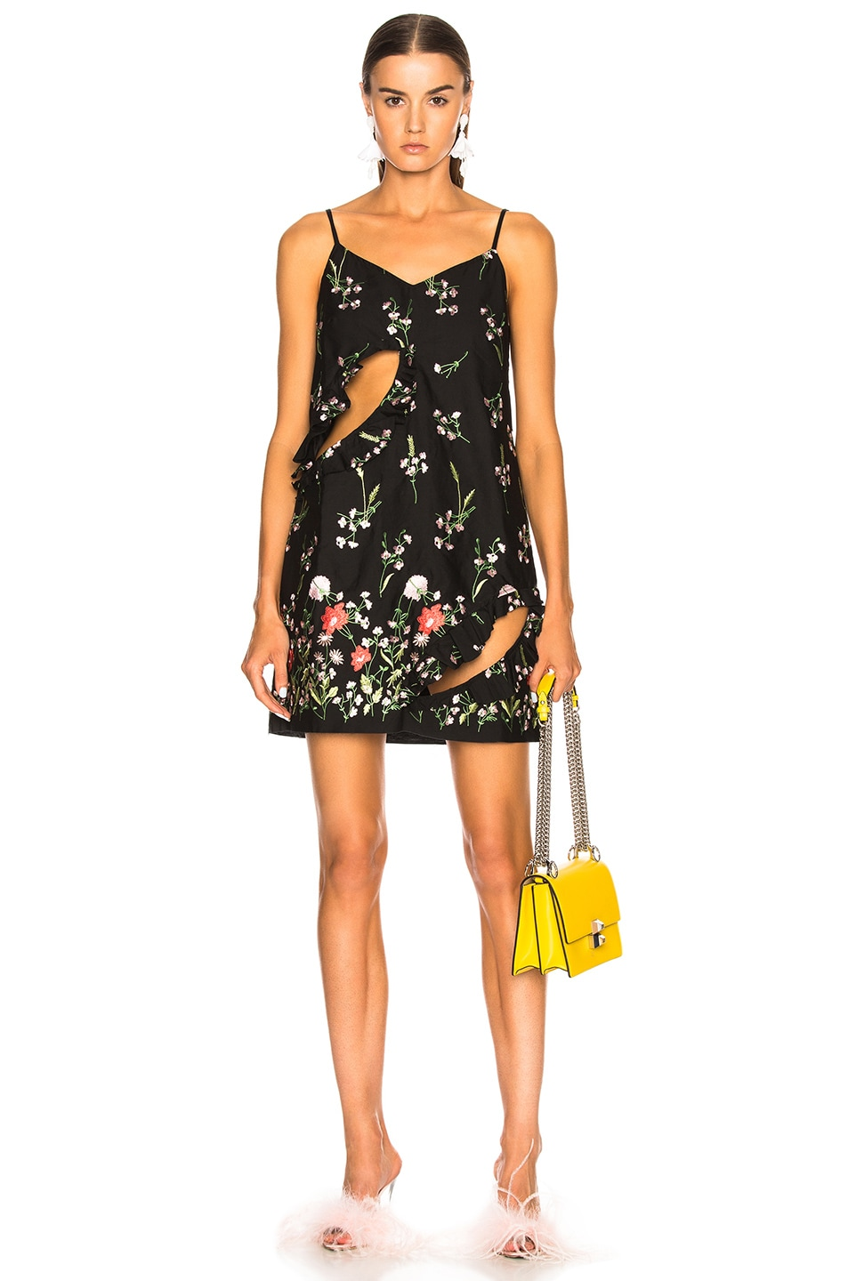 Marques ' Almeida Embroidered Slip Dress in Black,Floral
