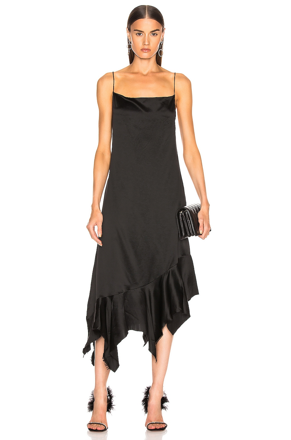 Image 1 of Marques ' Almeida Spaghetti Strap Peplum Dress in Black