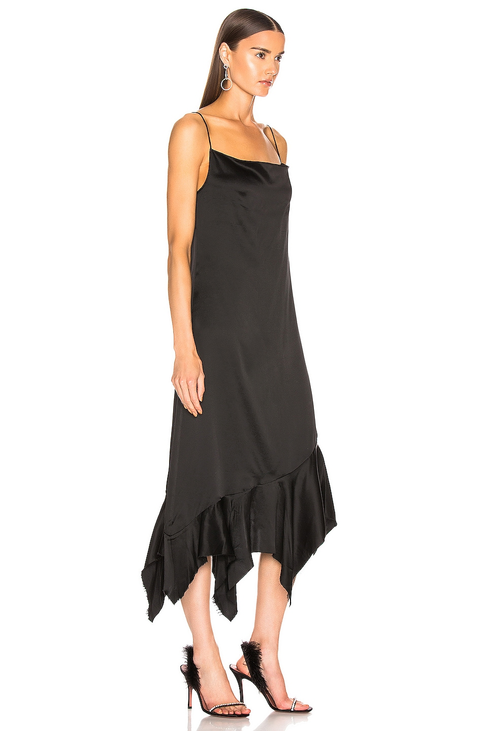 Image 2 of Marques ' Almeida Spaghetti Strap Peplum Dress in Black