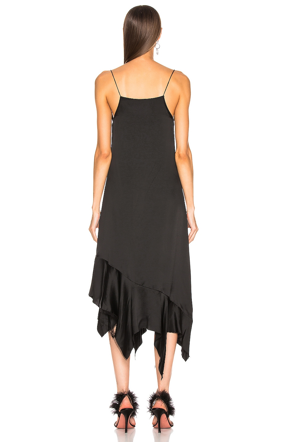 Image 3 of Marques ' Almeida Spaghetti Strap Peplum Dress in Black