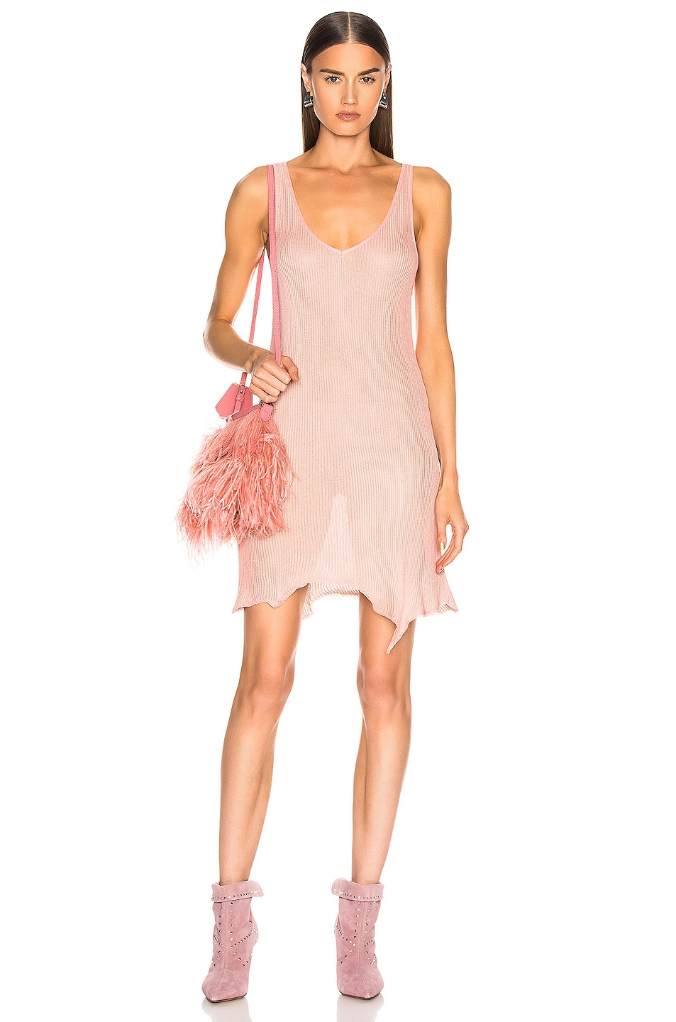 Image 1 of Marques ' Almeida V Neck Knit Dress in Pink & Grey