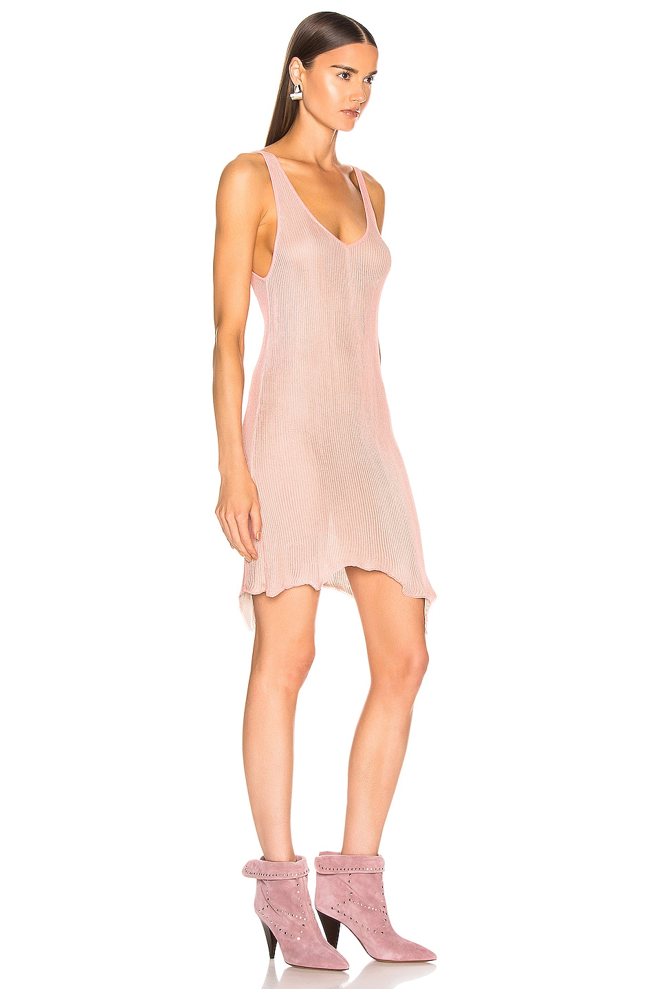 Image 2 of Marques ' Almeida V Neck Knit Dress in Pink & Grey