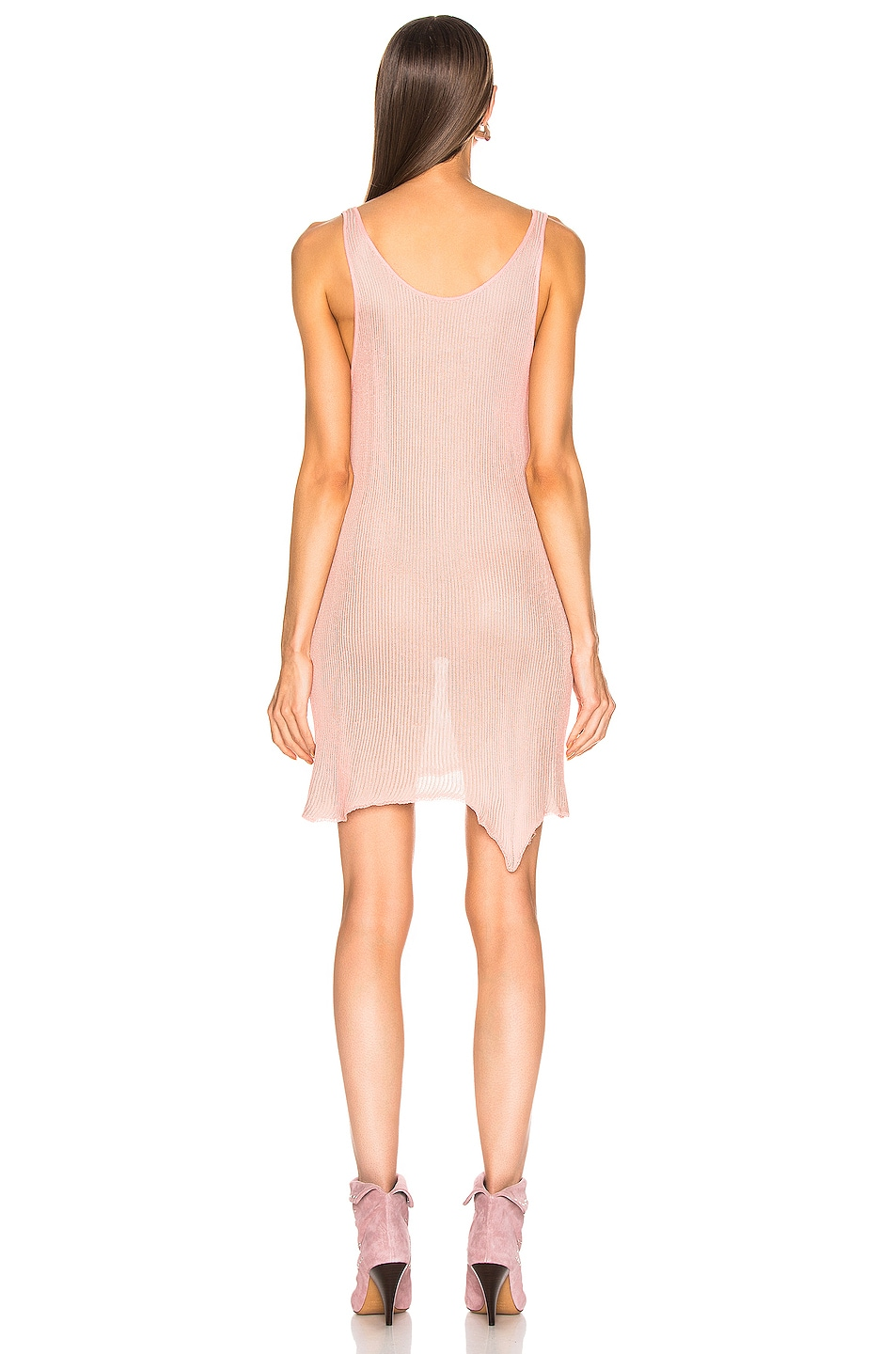 Image 3 of Marques ' Almeida V Neck Knit Dress in Pink & Grey