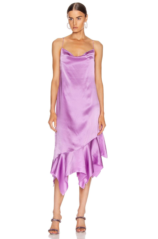 Image 1 of Marques ' Almeida Spaghetti Strap Silk Dress in Purple