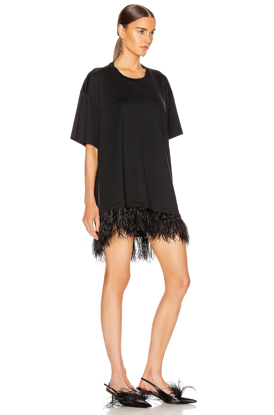 Image 2 of Marques ' Almeida Feather Hem T-Shirt Dress in Black