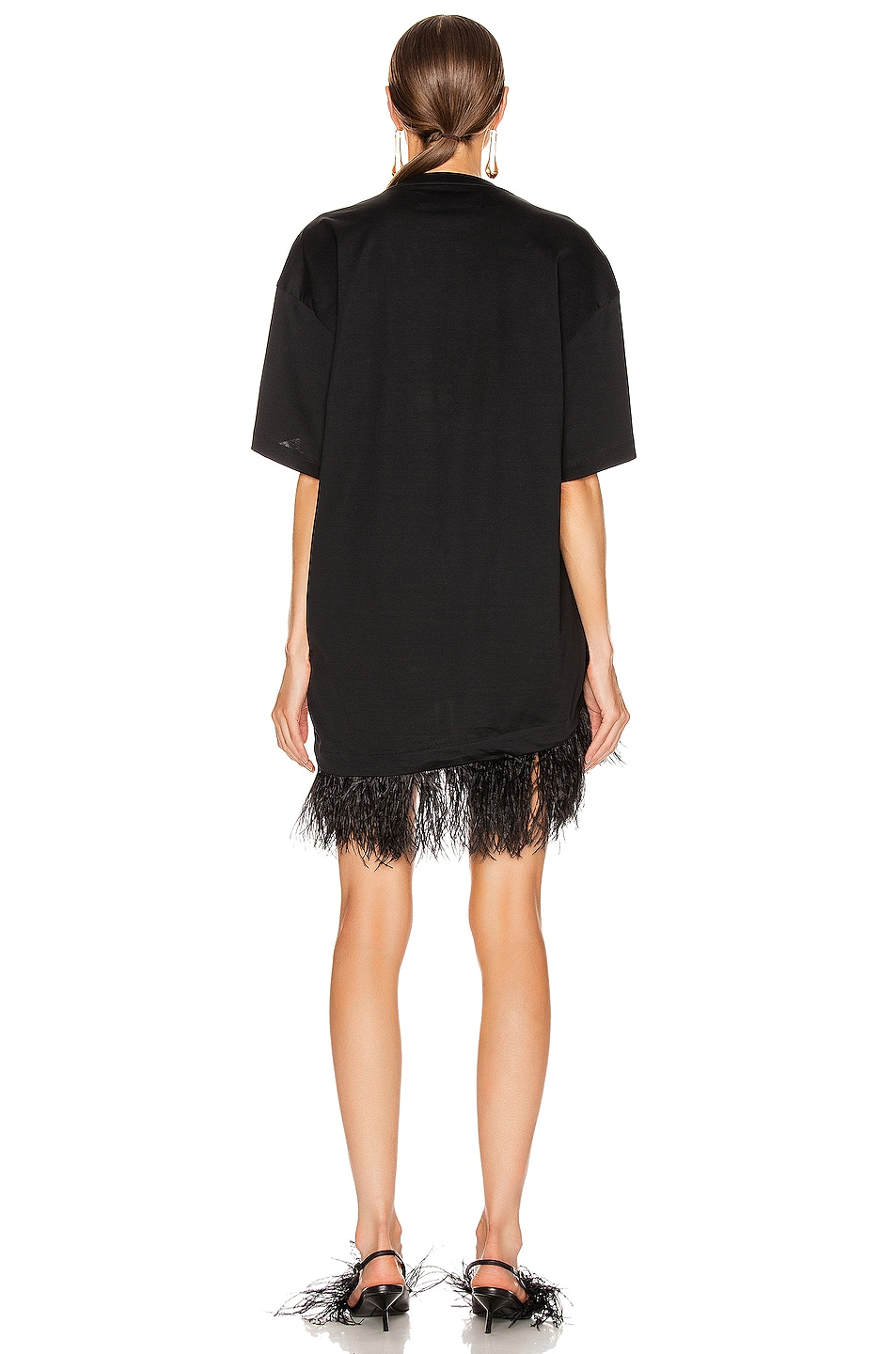 Image 3 of Marques ' Almeida Feather Hem T-Shirt Dress in Black