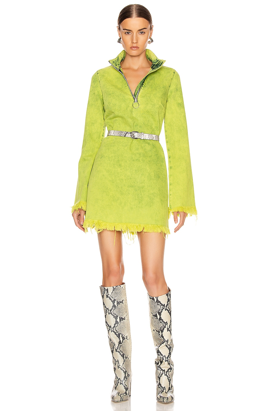Image 1 of Marques ' Almeida Classic Long Sleeve Short Dress in Lime