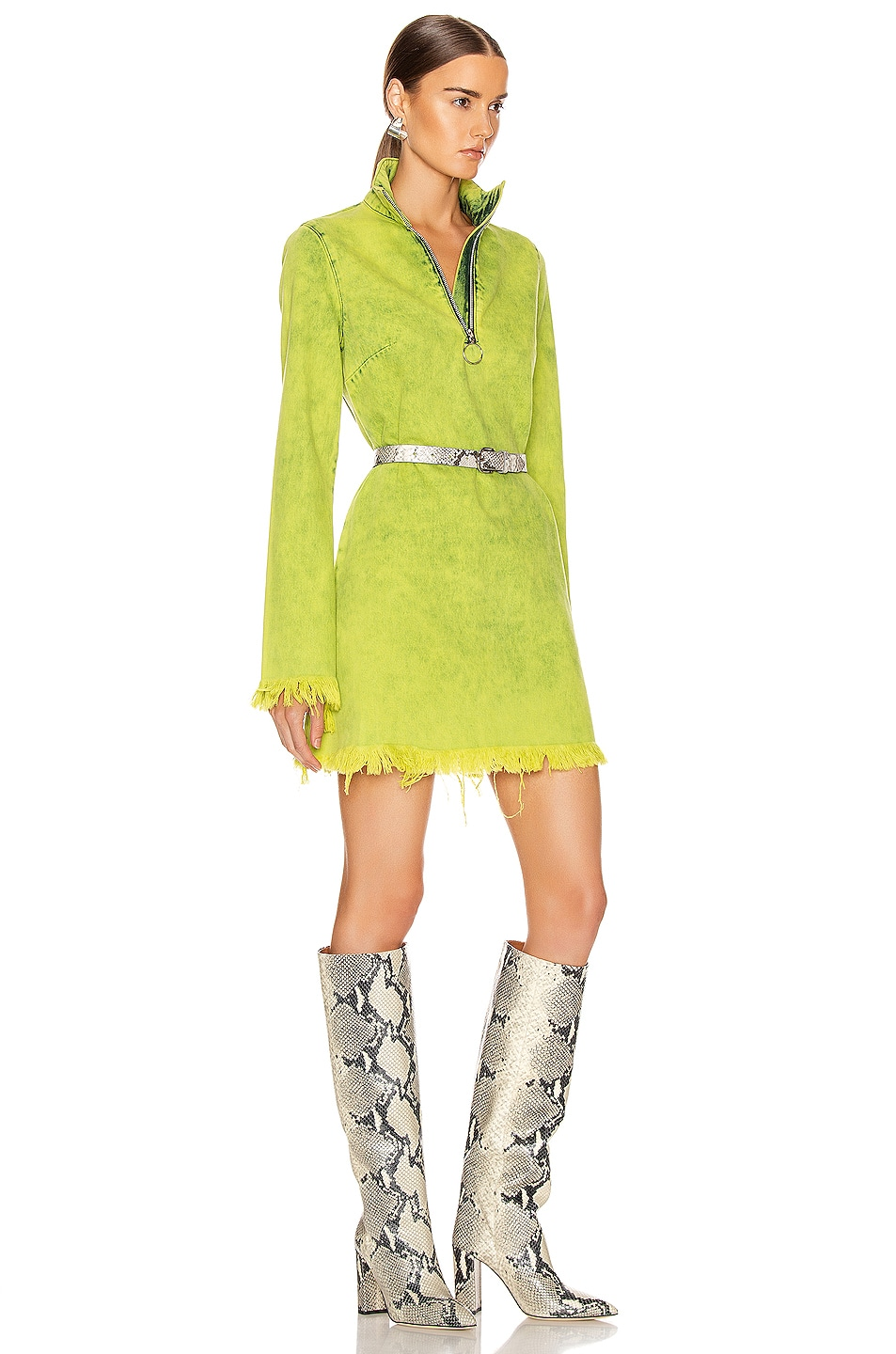Image 2 of Marques ' Almeida Classic Long Sleeve Short Dress in Lime
