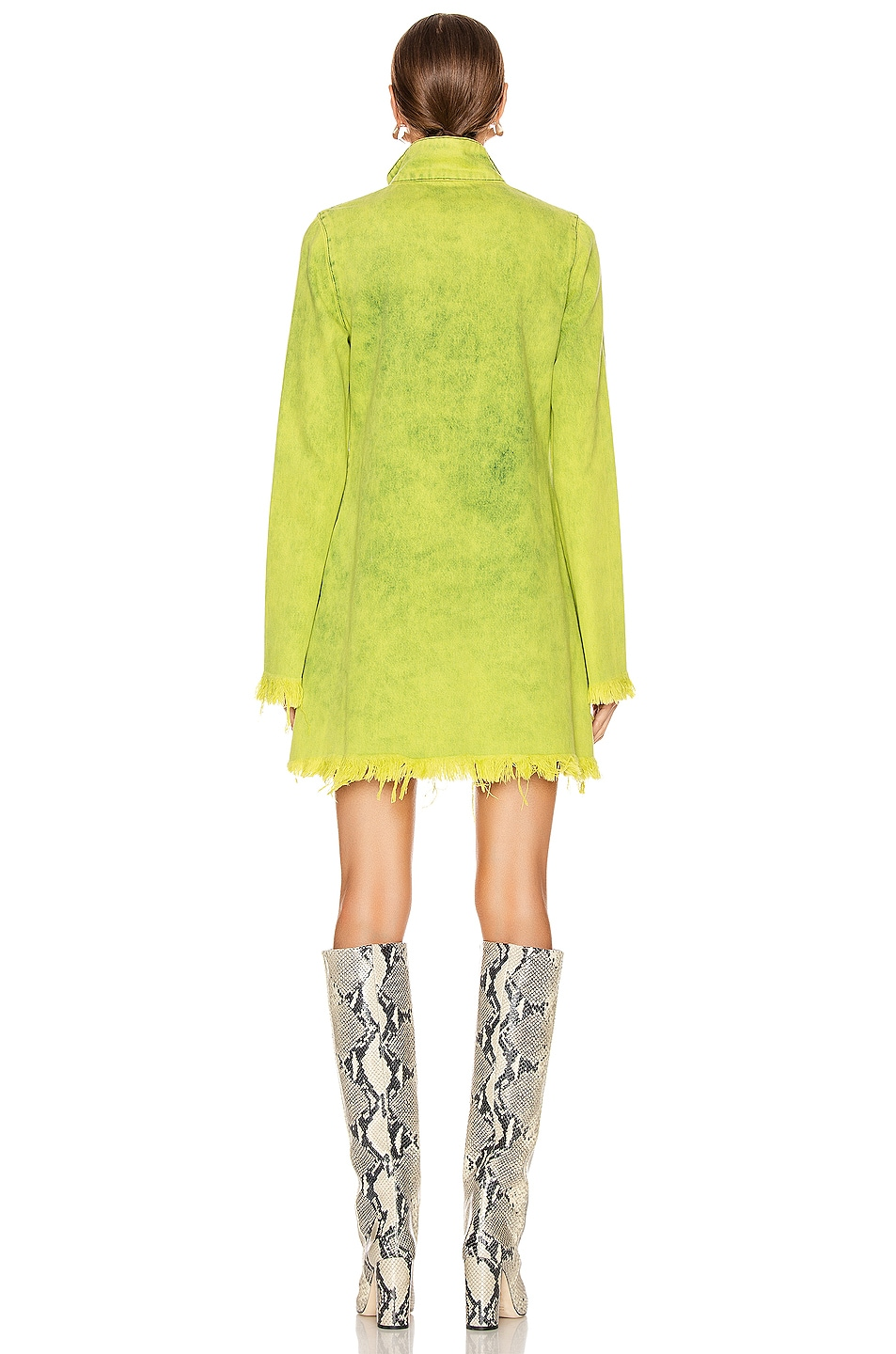 Image 3 of Marques ' Almeida Classic Long Sleeve Short Dress in Lime