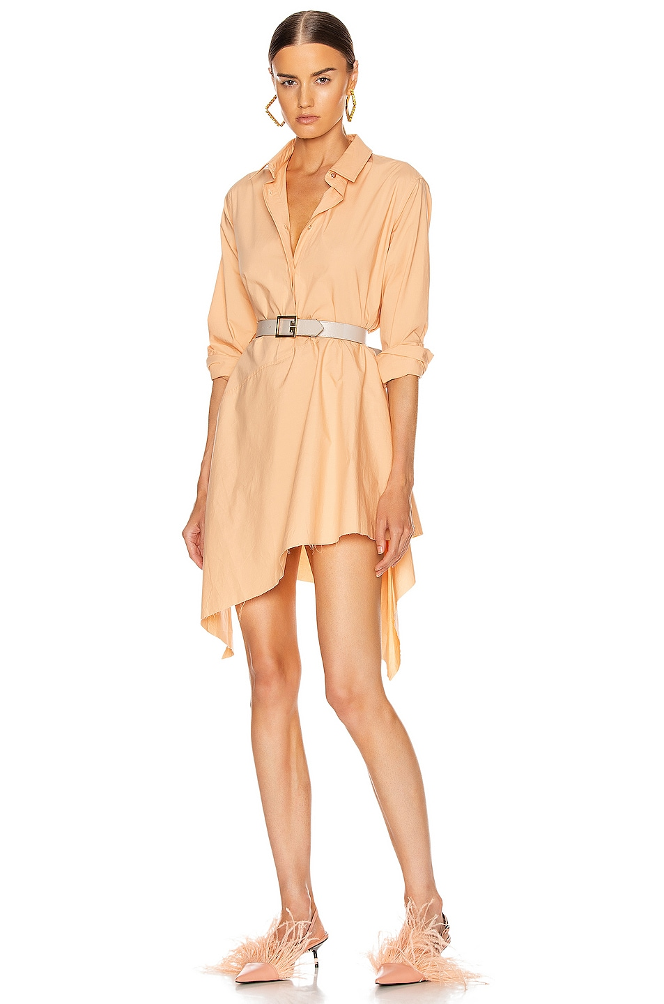 Image 1 of Marques ' Almeida Asymmetric Shirt Dress in Pink