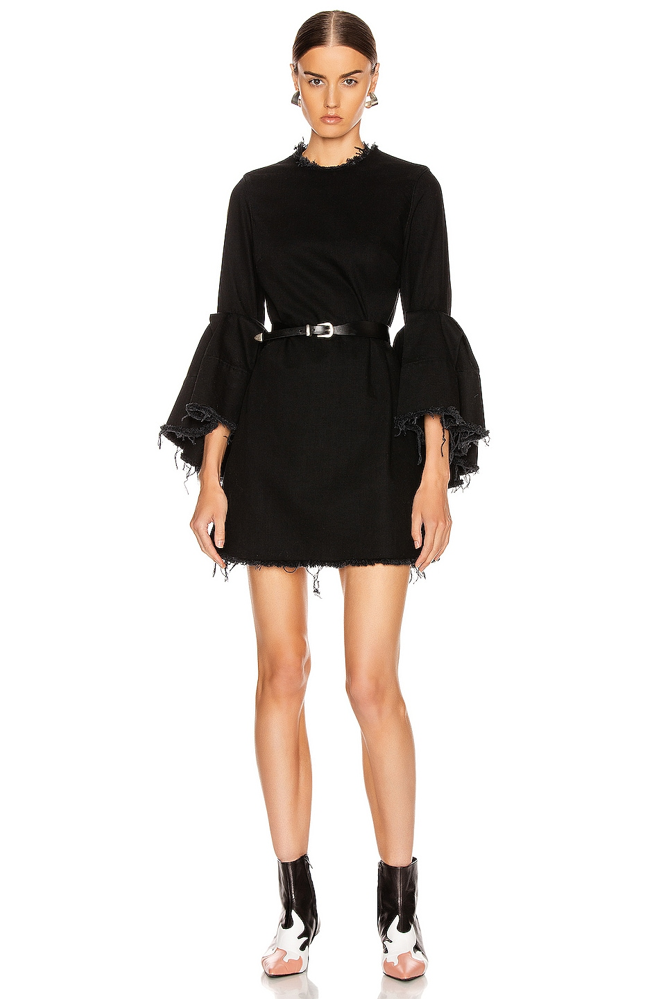 Image 1 of Marques ' Almeida Pleated Sleeve Short Dress in Black
