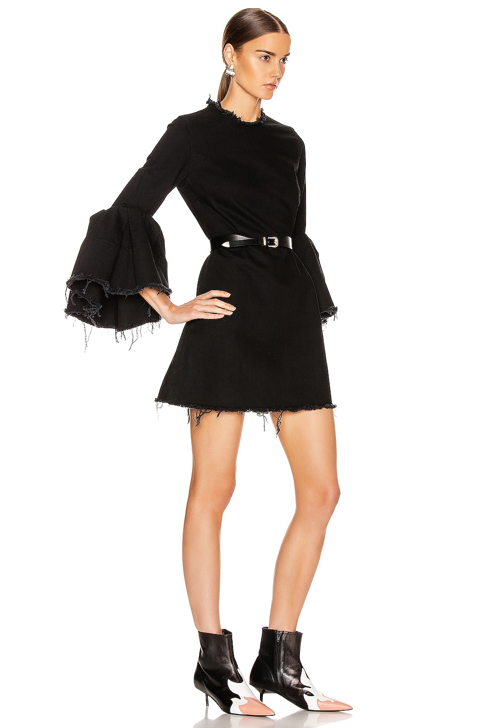Image 2 of Marques ' Almeida Pleated Sleeve Short Dress in Black